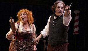 "(l to r) Deborah Gilmore Smyth with Artistic Director Sean Murray in the 2010 production of ""Sweeney Todd"" (Photo by Daren Scott)"