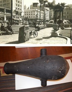 (top) a photo of the cannon pictured below, today (Courtesy SOHO)