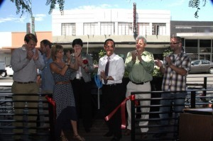 (l to r) Kevin Clark, Arne Holt, Angela  Landsberg, Linda Perine, Todd Gloria, Bill Fulton and Christopher Bittner at the ribbon cutting (Photo by Manny Lopez)