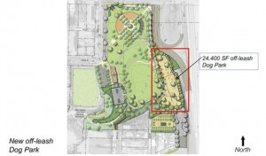 This sketch shows the proposed off-leash dog area in Ward Canyon Park. (Courtesy Drew Hubbell)