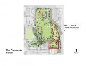 This sketch shows the proposed community garden in Ward Canyon Park. (Courtesy Drew Hubbell)