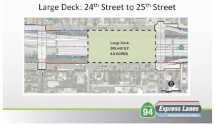 "A second option is a larger, 4.6-acre deck. A ""super deck"" would cover the entire space between 22nd and 25th streets. (Courtesy SANDAG)"