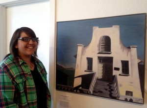 "Alisa Hernandez and her ""Apartments on Alcatraz Island"" (Photo by Tish Sjoberg)"