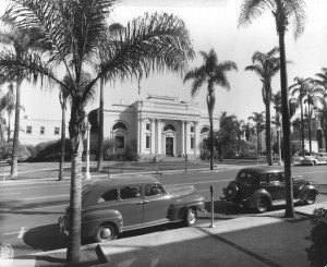 """Postcard of the horse and buggy era, Carnegie Library Building, San Diego Public Library, early 1900s"" (Courtesy San Diego Public Library)"