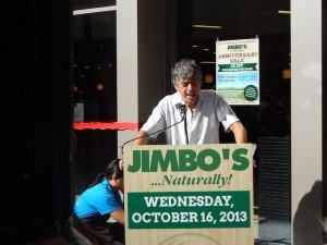 "Owner Jim ""Jimbo"" Someck addressed the crowd at the opening of new Downtown store. (Photo by Morgan M. Hurley)"