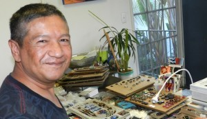 Artist and Hillcrest resident Adrian Arango, a longtime participant in the Talmadge Art Show (Photo by Monica Medina)