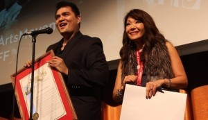 "(l to r) ""DOCUMENTED"" Director Jose Antonio Vargas and SDAFF Executive Director Lee Ann Kim (Photo by Jose Bucud)"
