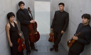 (l to r) Hausmann Quartet members Angela Choong, Jeremiah Shaw, Eric Chin and Isaac Allen (Coutesy Hausmann Quartet)
