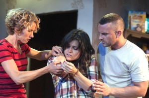 """(l – r) Amanda Morrow, Hannah Logan and Steve Froehlich in ion theatre's production of """"Bug"""" (Courtesy Ron Logan)"""