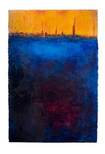 """Fire At Sea,"" by Ann Golumbuk, 30"" x 60"" x 1.5,"" Mixed Media on Wood Panel (Courtesy Ray Street Artists)"
