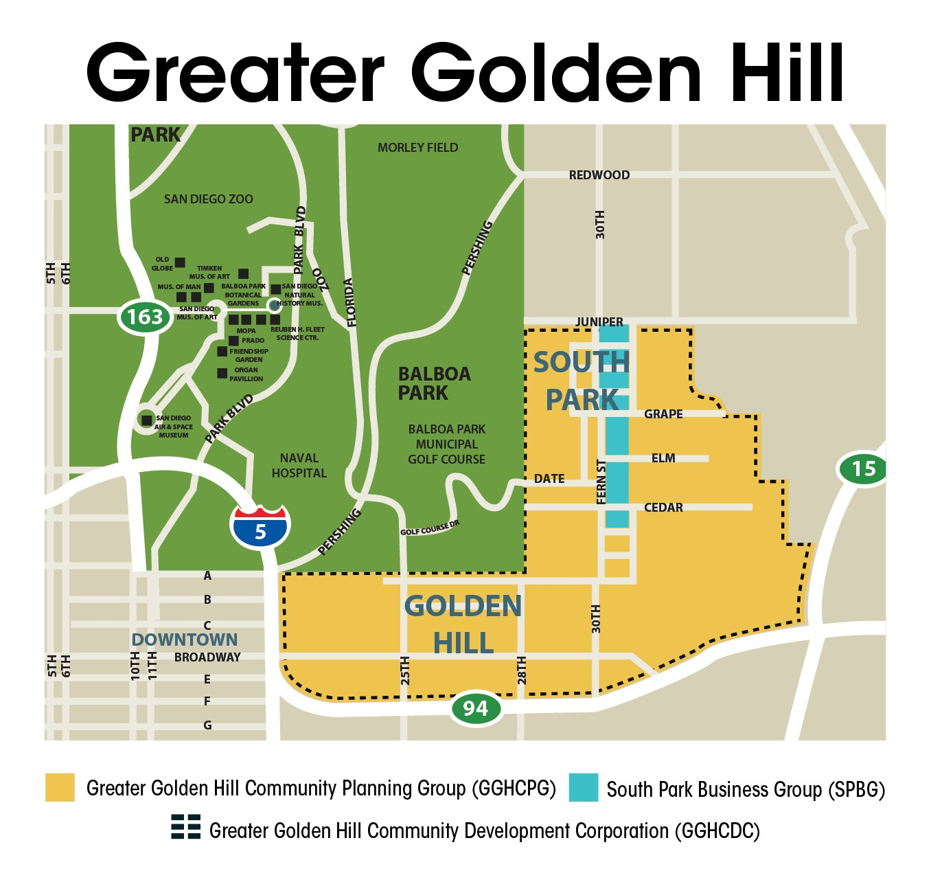 Balboa Park And Downtown San Diego Goldenhillmap