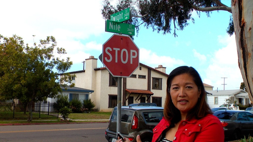 "Myra Pelowski in ""North Park Eclectic"" documentary at the present-day site of the PSA 182 crash (Courtesy Melanie Peters)"