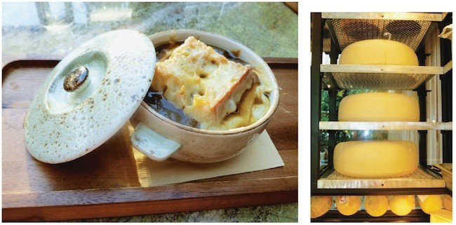 "(left) French onion soup; (right) treasures from ""the cheese cave"" (Photos by Frank Sabatini Jr.)"