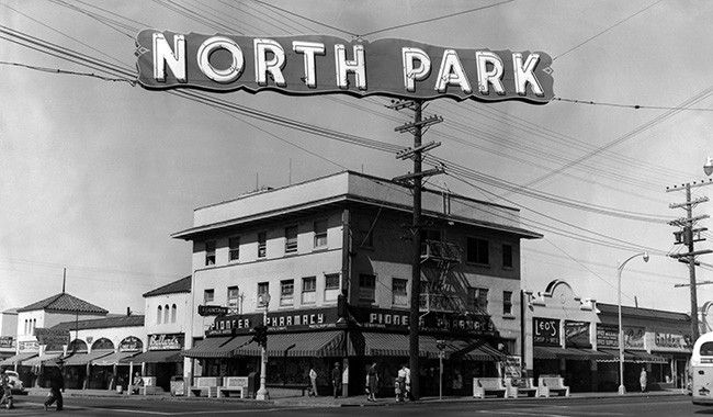 Looking west from University Avenue and 30th Street with the North Park sign hanging from wires. (Courtesy the Hartley family)
