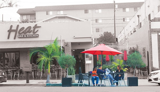 Hillcrest's proposed parklet would occupy an unmetered space on Park Boulevard in front of Heat Bar & Kitchen. (Photo by Hutton Marshall)