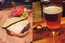 """(l to r) The """"late-night burger"""" and Lazy Dog's house blonde ale (Photos by Dr. Ink)"""