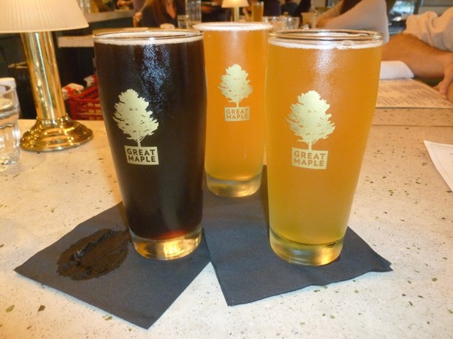 Old Speckled Hen Black Ale and two Allagash Whites (Photo by Dr. Ink)