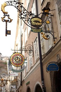 One of the guild signs in the old city center of Salzburg (Photo by Ron Stern)