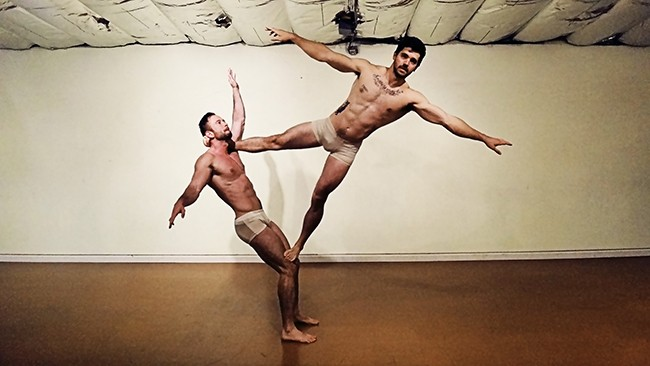 "(l to r) Travis Ti and Ehrick Costello rehearse their piece that will be part of ""Dancer Briefs"" opening next month at ion theatre in Hillcrest. (Photo by Travis Ti)"