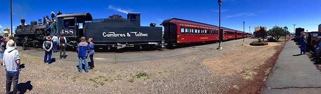 Tourists gawk at the Cumbres & Toltec Scenic Railroad train during a stop. (All photos by Ron Stern)