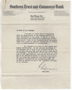 Prominent San Diego banker G. Aubrey Davidson provided this letter of recommendation to Pear Pearson in 1919. (Courtesy of Kari Koskinen)