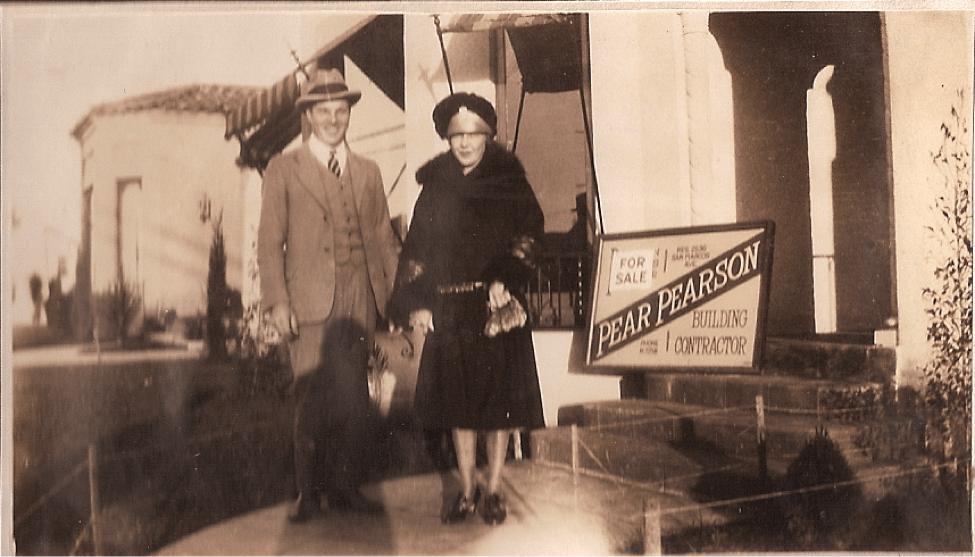Pear Pearson and his wife Helen proudly advertise a home he built. (Courtesy of Kari Koskinen)