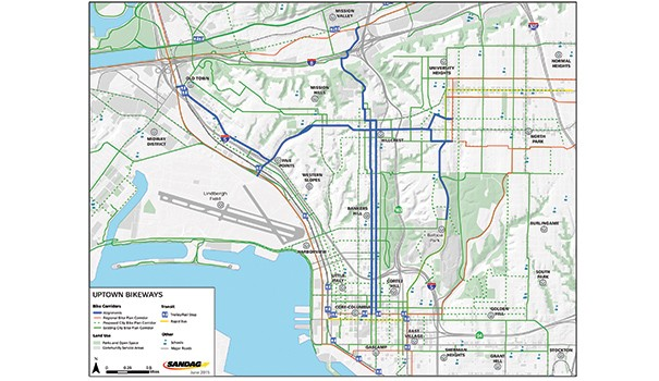 "This graphic shows the five proposed routes of the Uptown Bikeways project with the goal of creating safe ""low stress"" streets. (Courtesy of SANDAG)"