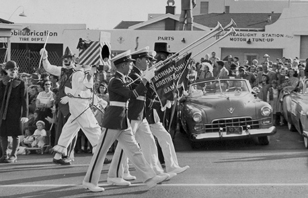Three Aida horns carry the leading banners for the Bonham Brothers Band in a 1940s Toyland Parade. (Courtesy of Chris Wray)
