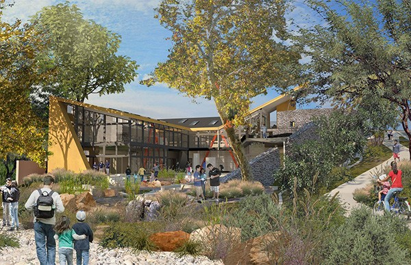 Architect Rob Wellington Quigley's design for the Living Lab has two laboratories totally open to Manzanita Canyon so students can do labs inside while having access to the outdoors. (Courtesy of Ocean Discovery Institute)