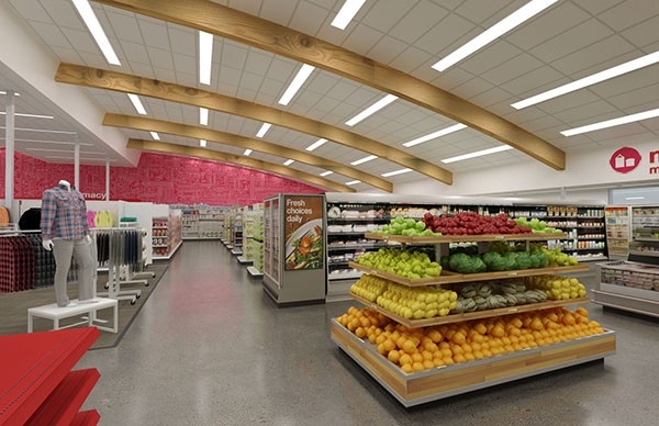 The TargetExpress in South Park will sell fresh produce, some clothing and high-tech gadgets, and the architects plan to refinish the wood beams and keep the 1960s feel of the building. (Courtesy of Target)