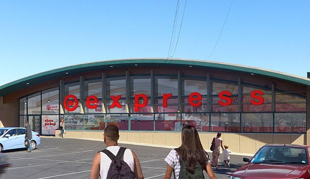 An architectural rendering shows how the TargetExpress store in South Park will look, preserving the vintage 1960s building. (Courtesy of Target)