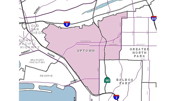 A city map outlines the area served by the Uptown Planners. (Courtesy of uptownplanners.org)