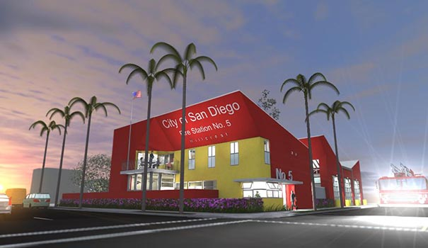 Rendering of San Diego City Fire Station 5 at the corner of Ninth Avenue and University Avenue in central Hillcrest. (Courtesy of architect Rob Wellington Quigley)