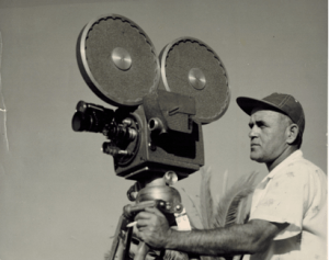 Joe Maestro using a Auricon sound movie camera during the 1950s (Photo courtesy of Pat Maestro)