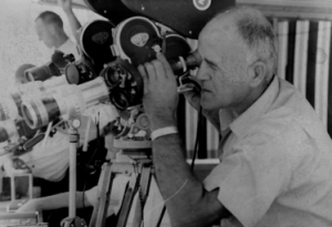 Joe Maestro filming a Chargers game in 1963 with his two-camera system (Photo courtesy of Pat Maestro)