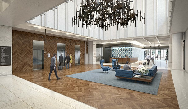 A restored mid-century élan is slated for the lobby of the Fifth & Laurel building. (Courtesy of BBL Commercial Real Estate)