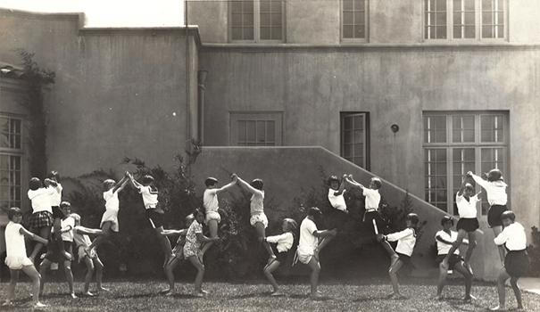 McKinley students build human pyramids (Photo courtesy of North Park Historical Society)