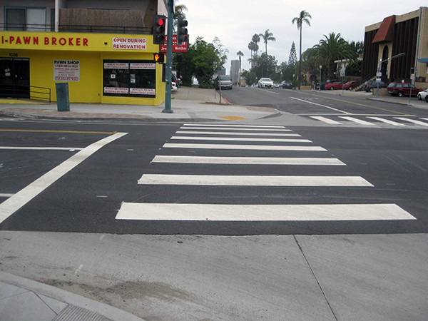 Improvements to 25th Street in Golden Hill include enhanced crosswalks. (Photo by Dave Schwab)