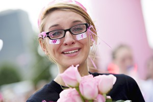 A teary-eyed woman involved in Komen San Diego's Race for the Cure.