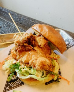The fried hen sandwich served at Burnside in Normal Heights (Photo by Frank Sabatini J