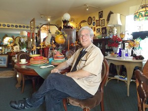 Dave McPheeters in his antique store Zac's Attic