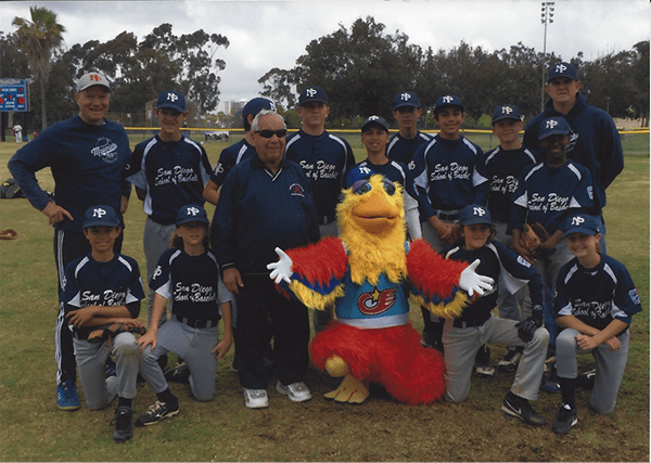 The San Diego Chicken joins Joe Schloss (front row, third from left) at the celebration on May 16, 2015. (Courtesy of Gregg Schloss)