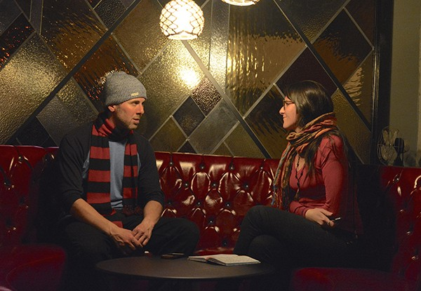 3S Underground Jazz organizer Ben Wanicur speaks with journalist María José Durán. (Photo by Matan Chaffee)