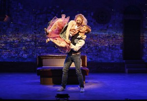 """Hayley Podschun and Brendon Stimson in Alfred Uhry's vignette """"Love with the Top Down,"""" part of the world premiere musical In Your Arms. In Your Arms, with music by Stephen Flaherty and direction and choreography by Christopher Gattelli, runs Sept. 16 - Oct. 25, 2015 at The Old Globe. Photo by Carol Rosegg."""