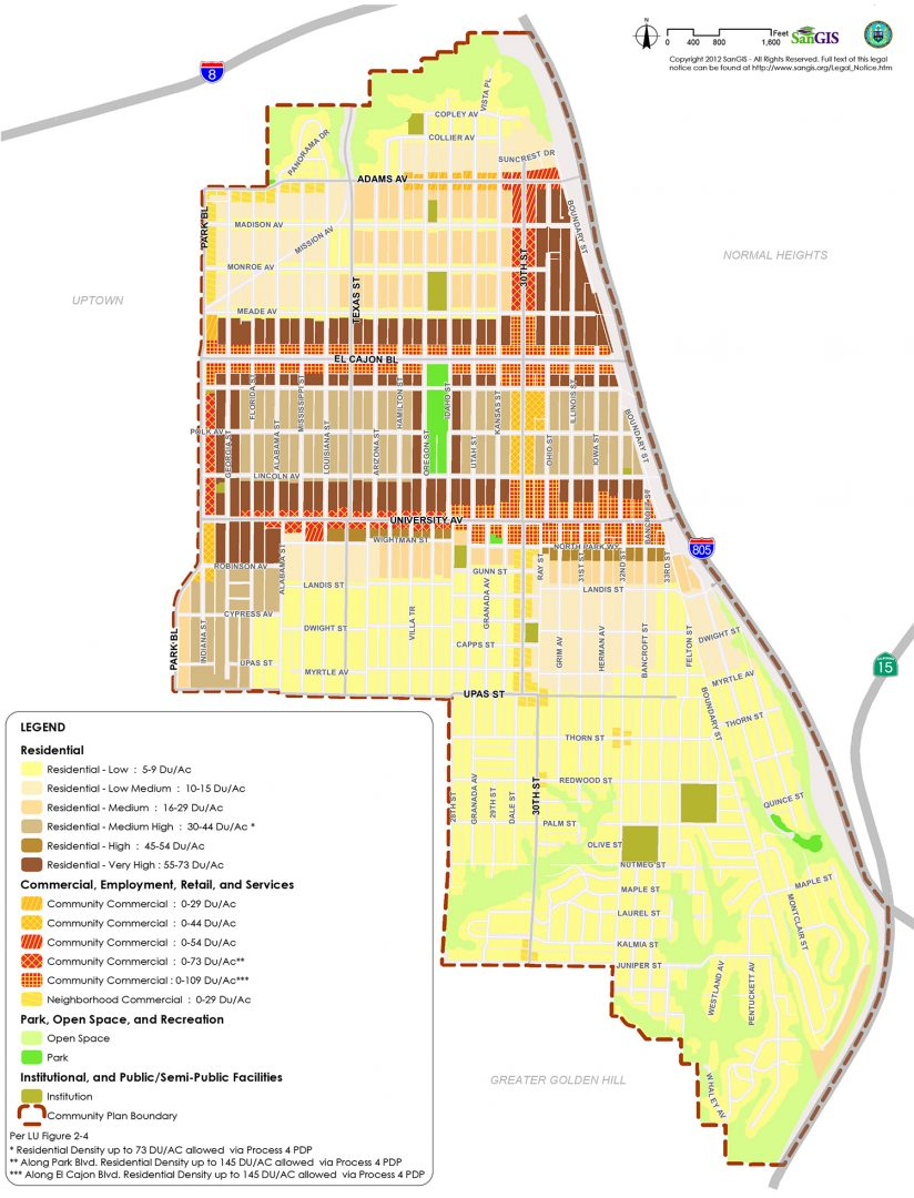 The proposed land-use designations in the update of the North Park Community Plan (Courtesy of SanGIS and the city Planning Department) (Click to enlarge)