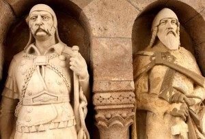 Sculptures of knights at Buda Castle in Hungary
