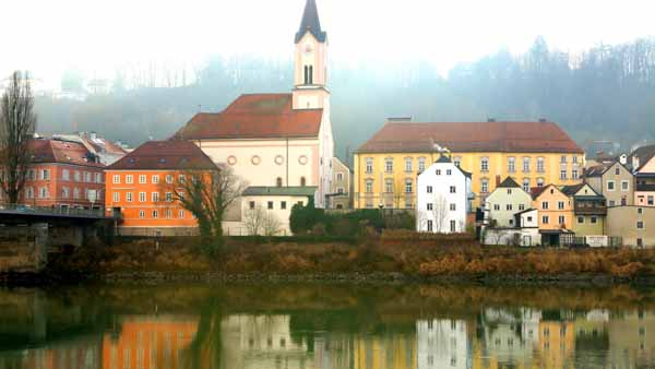 View from the Danube on a foggy day in Passau, Germany