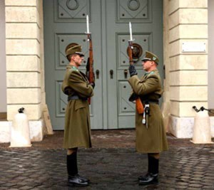 Guards stand at attention in Castle Hill in Budapest, Hungary.