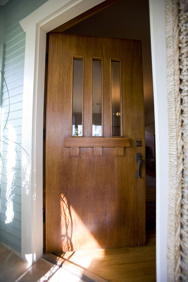 Authentic, vintage, San Diego-style Craftsman front door (Photo by Zack Gemmell)