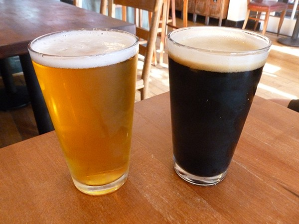 Mother Earth Mosaic IPA and Benchmark Oatmeal Stout (Photo by Dr. Ink)